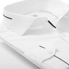 Shirts - White shirt with black custom details Formal Shirts For Men, Casual Shirts, Gents Shirts, Mens Shalwar Kameez, Gents Kurta, White Shirt Men, Men Shirt, Kurta Style, Mens Kurta Designs
