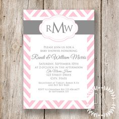 {EDITABLE INSTANT DOWNLOAD} Chevron Monogram /// Pink and Gray /// Wedding or Baby Shower /// 5x7 Printable Invitations /// DIY Party DBNGraphics, $12.00