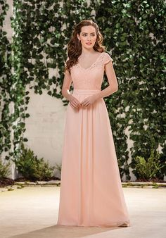 B2 by Jasmine two piece bridesmaid dress with a-line silhouette, V-neckline, and cap sleeves I Style: B183059 I https://www.theknot.com/fashion/b183059-b2-by-jasmine-bridesmaid-dress?utm_source=pinterest.com&utm_medium=social&utm_content=aug2016&utm_campaign=beauty-fashion&utm_simplereach=?sr_share=pinterest