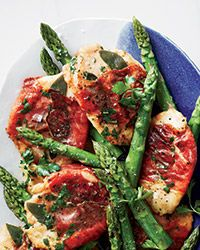 Chicken Saltimbocca with Asparagus Recipe AB: Quite delicious.  Fresh sage was perfect.  Did not have vin santo - used red wine.  Served with wild rice. @foodandwine