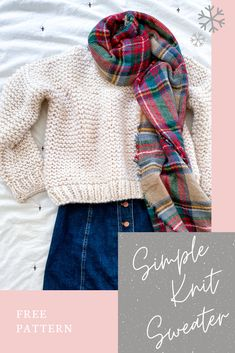 The simple knit sweater is super beginner friendly and easy to make! My free pattern features the garter stitch and a video tutorial for extra guidance. Jumper Patterns, Sweater Knitting Patterns, Loom Knitting, Knit Patterns, Free Knitting, Vintage Knitting, Craft Patterns, Stitch Patterns, Girls Sweaters