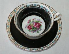 Stunning Vintage Royal Stuart, Spencer Stevenson, Black Floral Footed Teacup and Saucer