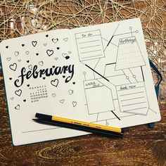 Bullet journal monthly cover page, February cover page, bullet journal monthly spread, heart drawings. | @glitteronmypages