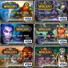 coolest credit cards EVER. World Of Warcraft Merchandise, World Of Warcraft 3, Wow 3, For The Horde, Night Elf, Geek Games, Visa Card, Credit Cards, Credit Score