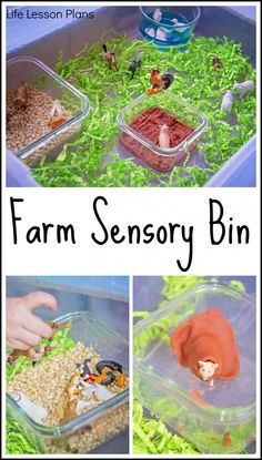 Paper, corn, play dough, and water combine to create a farm sensory bin that is sure to get kids engaged!