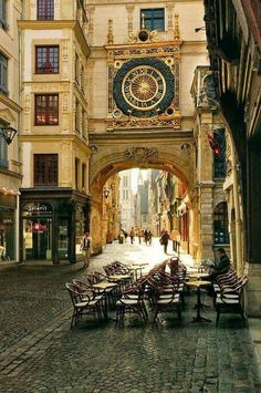 Caffe on Rouen ,France Small street  between  Cathedral& Place Jeanna d'arc.