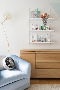 """""""The brass lamp is a replica from <a href=""""http://www.sitdownny.com/lighting.html"""" target=""""_blank"""">Sit Down New York</a> and works in with the brass planter from <a href=""""http://www.fermliving.com/home.aspx?currencycode=&fl=redirect"""" target=""""_blank"""">Ferm Living</a> and the hint of brass on the white wall hanging."""""""