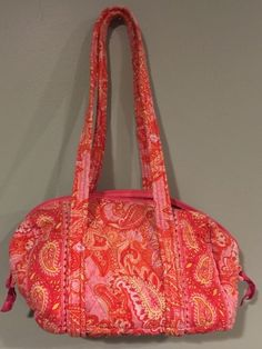 Vera Bradley Sherbet Pink Orange Paisley Purse Duffle Style Zip Top Handbag #VeraBradley #ShoulderBag
