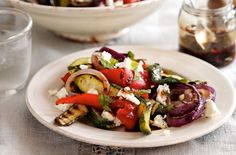 Griddled courgette red pepper and feta salad