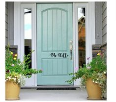 Front Door Paint Colors - Want a quick makeover? Paint your front door a different color. Here a pretty front door color ideas to improve your home's curb appeal and add more style! Front Door Paint Colors, Painted Front Doors, Exterior Paint Colors, Exterior House Colors, Exterior Doors, Paint Colours, Blue Front Doors, Exterior Design, Turquoise Paint Colors