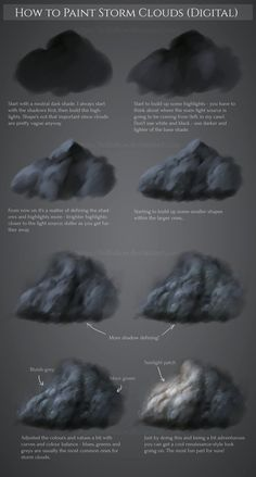 Tutorial I did up while waiting on a commissioner's response! Took me ages to figure out how to paint clouds pro. How to paint Storm Clouds Cloud Drawing, Cloud Art, Digital Painting Tutorials, Digital Art Tutorial, Art Tutorials, Storm Clouds, Rain Storm, Ocean Storm, Cloud Tattoo