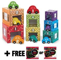 Nesting + Sorting Garages & Cars 14-Piece (7 Garages & 7 Cars) Play Set + FREE Melissa & Doug Scratch Art Mini-Pad Bundle [24358] Melissa & Doug http://www.amazon.com/dp/B00QG8HBES/ref=cm_sw_r_pi_dp_lte3ub1FGPAK2