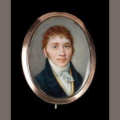 Attributed to Mme. Madeleine Pauline Augustin (née Du Cruet) (French, 1781-1865) A young Gentleman, wearing blue coat, yellow waistcoat, white chemise and tied stock