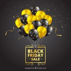Projeto de sexta-feira preta com balões realistas