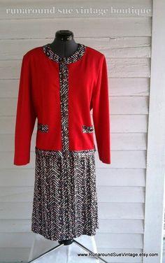 Vintage 60s 70s CHERRY Skirt & Jacket Suit by runaroundsuevintage, $30.00