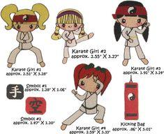Machine Embroidery Karate Kids GIRLS SET of 4 kids by DigiMyWorld, $22.00