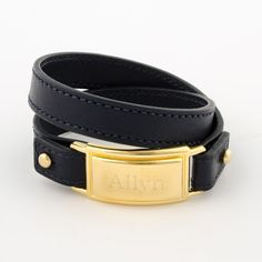 18k Gold Plated Barrett Bracelet with Navy Strap #SloanTaylor #MakieItYours #EngraveIt