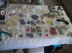 HUGE ALL GLASS AND GEM BEADING KIT WITH EVERYTHING,STRING,CHARMS,FINDINGS,TOOLS,HEMP FREE SHIP