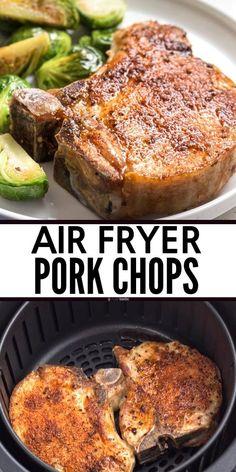 Air Fryer Oven Recipes, Air Frier Recipes, Air Fryer Dinner Recipes, Air Fryer Recipes For Pork Chops, Air Fry Pork Chops, Cooking Pork Chops, Paleo Pork Chops, Air Fryer Cooking Times, Cooks Air Fryer