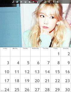 新春テヨンカレンダー ʕ・ᴥ・ʔღ 2016年1月 - Taeyeon Candy News ☺ Snsd #taeyeon #snsd