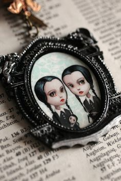 Tuesday and Wednesday Addams - the Addams Twins - original cameo by Mab Graves  by mab graves, via Flickr