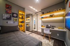 Home Office Bedroom, Bedroom Setup, Home Office Design, Nerd Bedroom, Boys Bedroom Furniture, Boys Bedroom Decor, Room Ideas Bedroom, Girls Bedroom, Almirah Designs