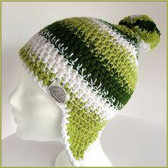 Pom pom beanie Winter hat ear flaps Green ski beanie by gremArt