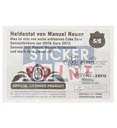 Panini Em Euro 2012 Manuel Neuer Sticker 5 von 6 hinten