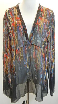 CHICO'S Sheer Feather Print Top Blouse Shirt 2 L Crinkle Silk Vee Neck Black Red #Chicos #Blouse #Casual