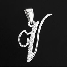 0.05ct VVS Diamond Alphabet Initial Letter V Pendant in 14k White Gold Plated #findingsnjewelry #InitialLetterV