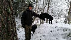 Poikien kanssa metsässä tammikuussa 2015