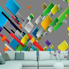 """Water-resistant and scratch-proof fleece wallpaper """"Color puzzle"""". Wallpaper """"Color puzzle"""" with the inspiring motive will be an effective eye-catch for each interior. 3d Wallpaper Mural, Color Puzzle, 3d Fantasy, Vintage Design, House Colors, Decoration, Wall Murals, Puzzles, Vibrant Colors"""