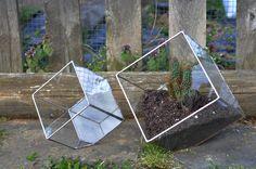 Earth Terrarium Kit, medium cube glass planter in copper or silver color -- stained glass -- terrarium supplies -- eco friendly. $55.00, via Etsy.