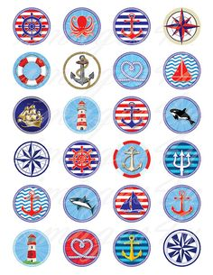 Anchor Digital Collage Sheet navy pendant nautical bottle cap images ship printable circles round do Sailor Birthday, Nautical Party, Nautical Design, Bottle Cap Images, Digital Collage, Collage Sheet, Painted Rocks, Etsy, Birthday