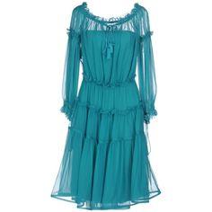 Alberta Ferretti Knee-length Dress ($1,410) ❤ liked on Polyvore featuring dresses, green, green swing dress, green long sleeve dress, blue dresses, blue long sleeve dress and knee-length dresses