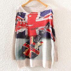 Long Sleeves Print Scoop Regular Loose Sweater
