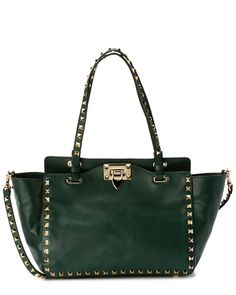 Valentino Rockstud Mini Leather Shopping Tote Green