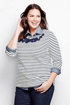 Women's 3/4-sleeve Ponté Embroidered Top - Stripe from Lands' End