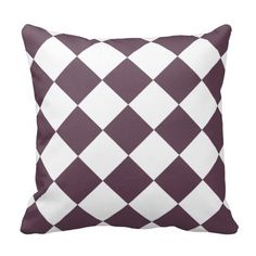 Eggplant Purple Diamond Pattern Pillow   .......This design features a eggplant purple diamond pattern on the front and back. Great for any room that needs this color for an pillow décor. Check out my store for more colors available with this pattern and on other products.