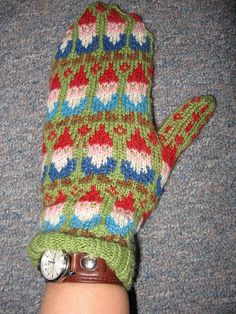 Gnome Print Winter Knitted Mittens --- Gnomebody wants these more than me! I'm sad I don't know how to knit at all. They would be perfect with my Halloween costume if it's a cold October.