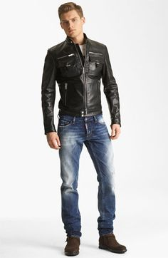 Dsquared2 Leather Jacket, T-Shirt & Straight Leg Jeans