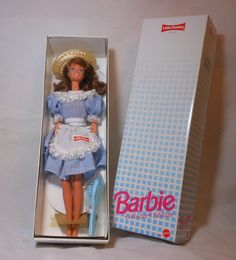 Barbie Collectors Edition Little Debbie Doll is 1st in Series and a 1992 Mattel production. 11.5 Barbie Doll auburn hair & blue eyes wearing a straw hat, blue and white check dress with white lace at neck and sleeve ends; theres a white apron with white lace trim along hem and Little Debbie decal. Comes with black Shoes, blue hair brush and doll stand for display! Do not believe these were ever sold in a store. Has minor wear to box.  Perfect for any collection, as a gift or for fun play...