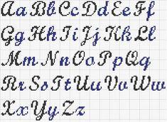 "Grille Broderie alphabet ""Grille Broderie alphabet Plus"", ""Pix For > Cross Stitch Cursive Alphabet"", ""Afbeeldingsresultaat voor point the croix"" Cross Stitch Letter Patterns, Cross Stitch Letters, Cross Stitch Charts, Cross Stitch Designs, Stitch Patterns, Cross Stitch Font, Alphabet Au Crochet, Alphabet Cursif, Alphabet Charts"