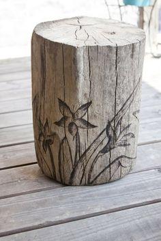 Bellawillow Shop Blog: Driftwood Lily Garden Stump Stool