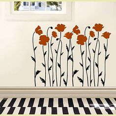 poppy-flower-stencil ~ I think it would look neat in a small main level bathroom