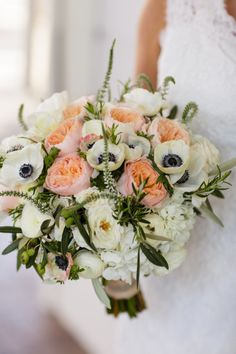 Anemone, Juliette Roses and Hydrangeas: http://www.stylemepretty.com/california-weddings/carmel/2015/06/05/rustic-carmel-ranch-wedding/ | Photography: Jihan Cerda - http://www.jihancerda.com/