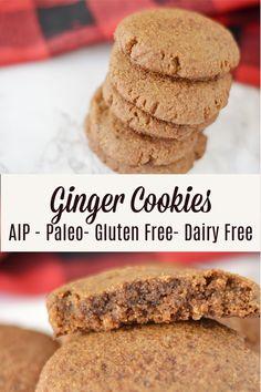 Ginger Cookies * Lichen Paleo, Loving AIP Dairy Free Cheesecake, Dairy Free Brownies, Dairy Free Cookies, Paleo Cookies, Healthy Cookie Recipes, Paleo Sweets, Allergy Free Recipes, Ginger Cookies, Paleo Dessert
