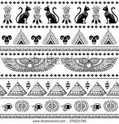 pattern with Egypt symbols