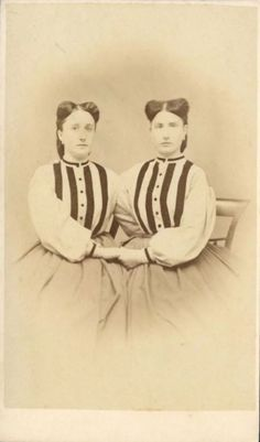 TWINS IN GLAMOUR STRIPED DRESS & FASHION HORNS HAIRSTYLE - CDV 1870s - CIRCUS??