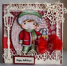 From our Design Team! Card by Anne-Maree Campbell featuring NEW Winter Luka and these NEW Dies - Lamp Post, Large Snowflakes 1, Ornate Border Small, Ornate Border Large. Old Dies - Stitched Elements :-) Shop for our products here - shop.lalalandcrafts.com Coloring details and more Design Team inspiration here - http://lalalandcrafts.blogspot.ie/2016/07/new-release-showcase-christmas-in-july.html